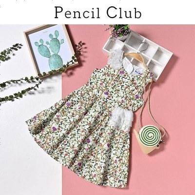 鉛筆俱樂部童裝2020夏裝新款女童連衣裙中大童碎花裙子兒童背心裙