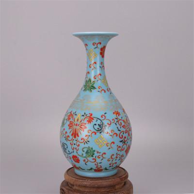 大清雍正天青釉掐絲琺瑯彩玉壺春花瓶古董仿古瓷收藏古玩舊貨裝飾 不含底座