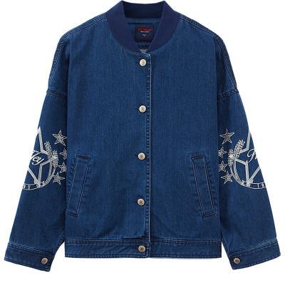 美特斯·邦威女繡花牛仔棒球夾克刺繡單排扣牛仔短款外套