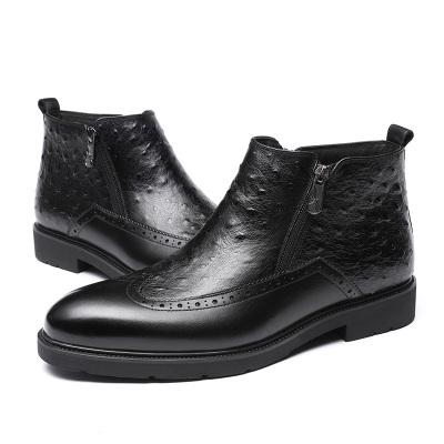 红蜻蜓男鞋真皮布洛克商务正装皮鞋男系带高帮加绒棉鞋男