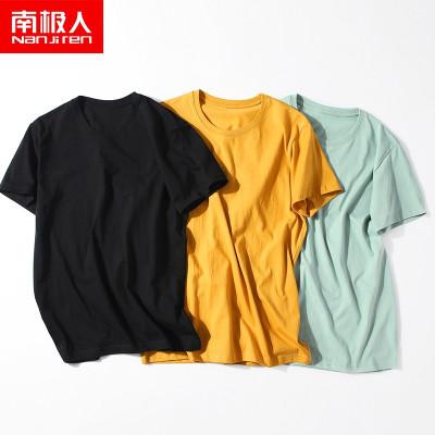 南極人男士短袖t恤四季圓領裝潮流舒適內搭100%純棉打底衫半袖衣C7308