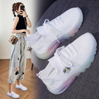 策恩公牛小雛菊彩色飛織女鞋2020夏季新款韓版百搭鞋女透氣跑步鞋