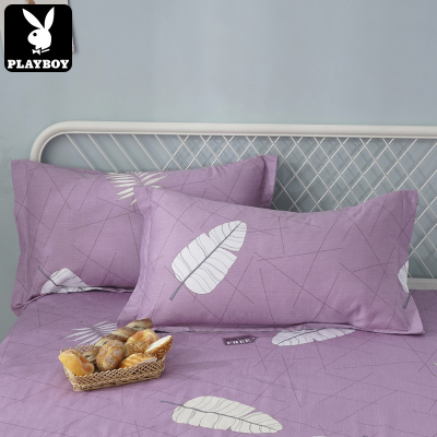 花花公子(PLAYBOY)純棉印花枕套簡約時尚學生床上用品全棉枕套48*74cm