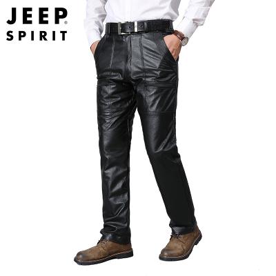 JEEP SPIRIT吉普新款加絨真皮皮褲冬季男士頭層牛皮時尚中腰寬松機車防風摩托直筒褲子