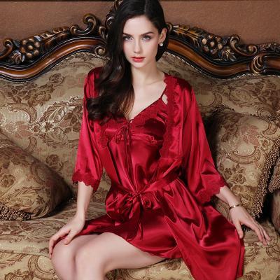 上海故事睡衣女冰絲兩件套裝睡袍夏季性感火辣薄款春秋季吊帶睡裙禮盒裝