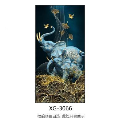 XG-3066 80x160cm鋁合金框金色晶瓷工藝+鑲鉆 鑲鉆玄關裝飾畫晶瓷畫福鹿輕奢現代簡約走廊豎版掛畫入戶北歐壁畫