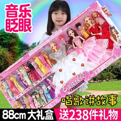 智扣芭比娃娃套裝大禮盒女孩公主別墅城堡兒童玩具婚紗換裝洋娃娃88CM禮盒D01款(6個公主)