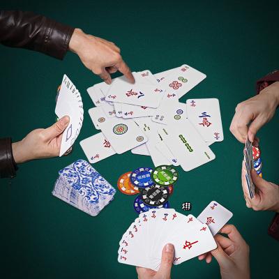 麻將牌紙牌便攜式家用加厚長條撲克紙質塑料PVC老牌紙麻將牌撲克