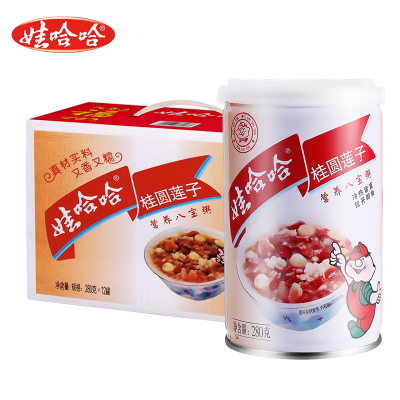 娃哈哈桂圓蓮子八寶粥280g*12罐 提手禮盒裝 營養速食即食代餐早餐粥整箱