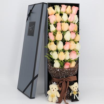 五二零 33朵粉白香檳玫瑰混搭禮盒生日禮物北京西安蘇州南寧大連石家莊上海鮮花速遞全國同城花店送花