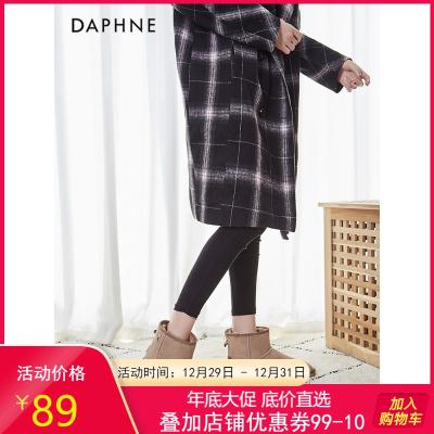 达芙妮2019冬季新款雪地靴女加绒加厚棉靴短筒女平底保暖棉靴短靴女