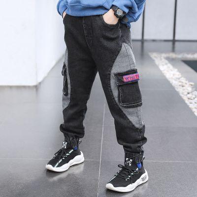 欣鴻茗男童褲子兒童長褲春秋款2020新款中大童休閑牛仔褲洋氣童裝韓版潮