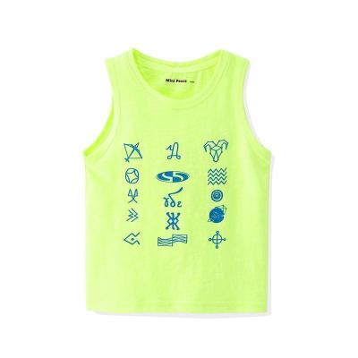 minipeace太平鸟童装夏季男童荧光运动背心星座胶印无袖T恤