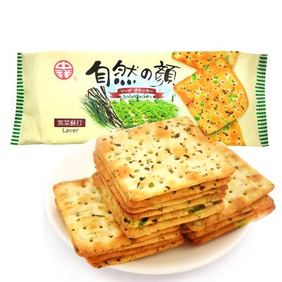 臺灣自然之顏蔬菜蘇打餅干140g 進口零食代餐餅干海苔酵母餅干