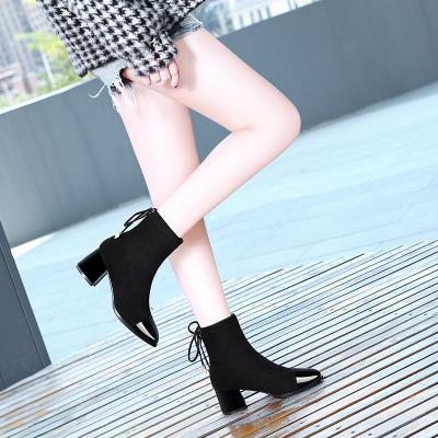 莱卡金顿长筒靴女过膝2019秋冬新款韩版百搭系带显瘦小个子靴子网红瘦瘦靴6812