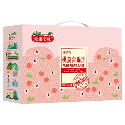 众果100%纯果汁 1L*5盒水蜜桃混合果汁 礼盒装