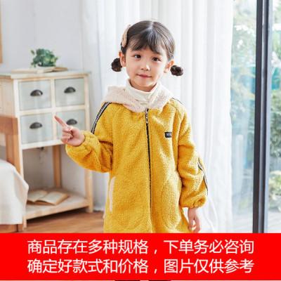 儿童罩衣男女宝宝防脏时尚连帽外套秋冬韩版保暖加绒护衣加厚外穿