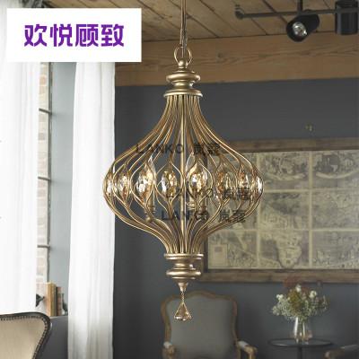 美式水晶吊灯铁艺复古餐厅酒吧个台服装店咖啡厅工业风灯具