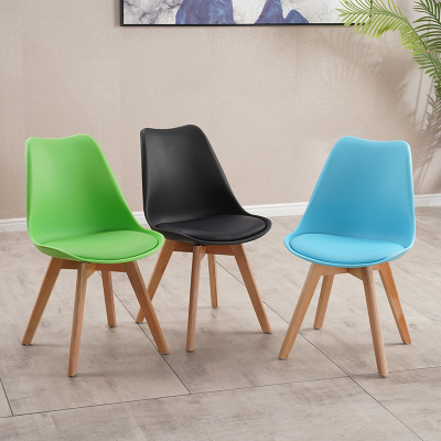 檀星星北歐家用伊姆斯椅現代簡約實木書桌椅休閑靠背椅布藝餐椅郁金香椅