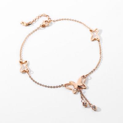 奧沃姿腳鏈夏季新款蝴蝶手鏈腳鏈氣質鈦鋼腳鏈女清新潮人女士腳飾禮物送女友異地戀禮物情人節禮物