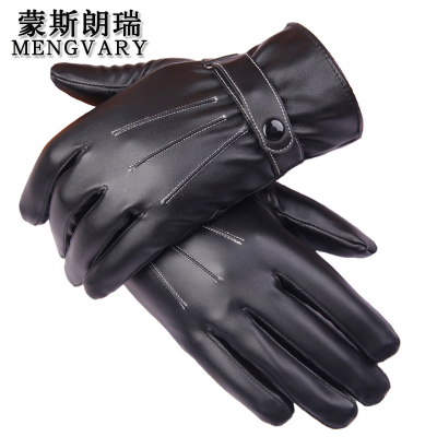 蒙斯朗瑞 男士手套秋冬季保暖手套加绒加厚触屏手套韩版皮手套户外防风骑车手套冬