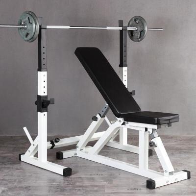 臥推架舉重床 室內家用男女多功能力量訓練健身器材杠鈴套裝健身器材啞鈴凳 深蹲架+臥推凳+80公斤烤漆杠鈴