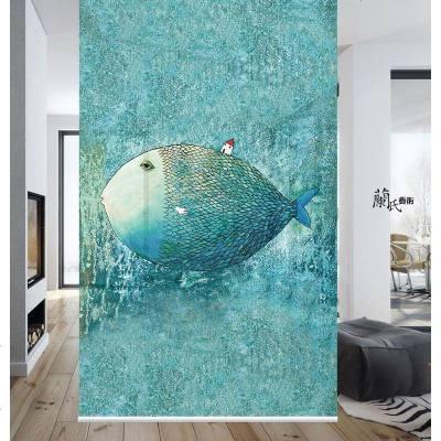 HOTBEE兰氏艺术北欧 简约现代 挂帘隔断屏风半透明挂屏RGD347大鱼小房子