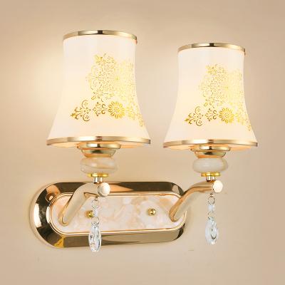 顧家照明led歐式鏡前燈簡約現代臥室床頭客廳走廊過道玄關壁燈酒店工程燈具 新款雙頭-配兩個5W LED 三色調光燈泡