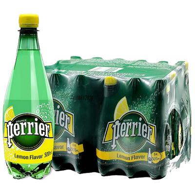 【產自法國】巴黎水(Perrier)天然氣泡礦泉水(檸檬味)塑料瓶裝 500ml*24瓶/箱 進口飲用水 法國進口