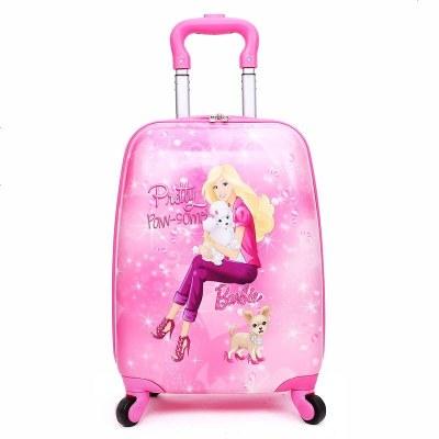 昆吾鋒培訓班定制兒童拉桿箱四輪行李箱萬向輪161819小孩子卡通旅行箱女 18寸抱貓芭比