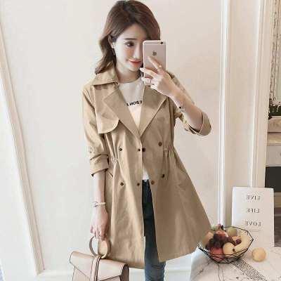 班俏BANQIAO風衣女中長款2020年春裝新款韓版收腰氣質修身顯瘦百搭小個子外套