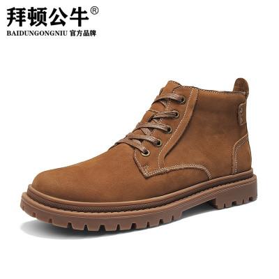 拜頓公牛男靴短筒馬丁靴男高幫潮鞋冬季加絨棉鞋雪地靴英倫中幫工裝鞋