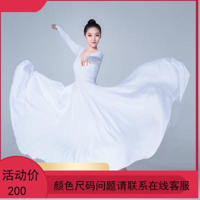 长袖连衣裙开场现代舞蹈服女成人弹力飘逸大摆裙表演服芭蕾练功服