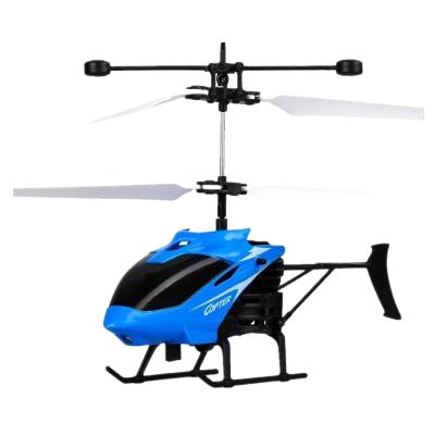 感应直升飞机无人机儿童玩具充电耐摔感应悬浮遥控小飞机室内玩具飞行器 蓝色小飞机+遥控手表