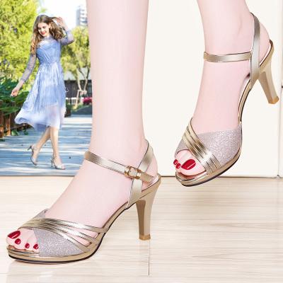 萊卡金頓涼鞋新款女夏季魚嘴高跟鞋韓版百搭一字扣帶女士鞋子利德尚品6460