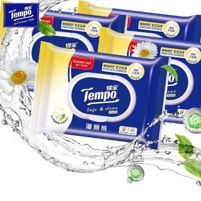 得寶(Tempo)洋甘菊濕廁紙40片4包裝 私處潔潔廁濕巾成人衛生濕巾潔膚