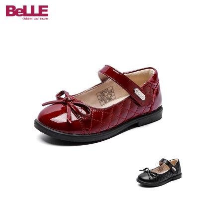 百麗童鞋兒童皮鞋春季中小童學生鞋女童演出鞋黑色禮儀鞋返校鞋子