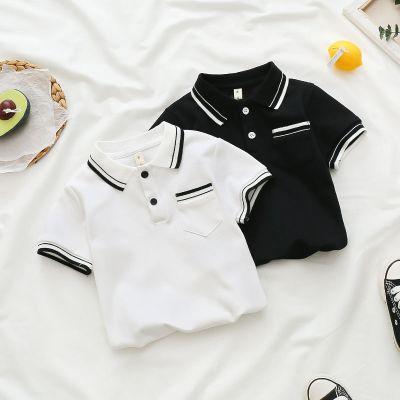 兒童短袖棉小童polo衫寶寶T恤翻領夏季白色上衣男童短袖T恤潮威珺