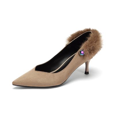 达芙妮新款毛毛细跟攀带绒面单鞋
