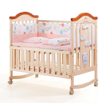 婴蓓 婴儿床实木无漆欧式新生儿BB床摇篮床宝宝多功能可变书桌拼接大床带滚轮,带蚊帐,加长加大