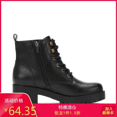 冬靴女冬新款百搭粗跟小短靴女側拉鏈女鞋馬丁靴女1017605037