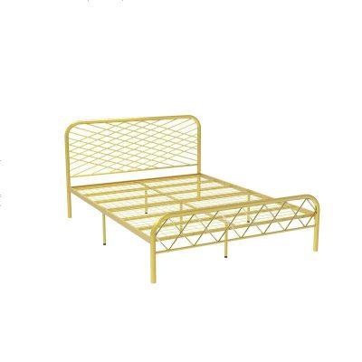 北歐ins網紅風斯黛拉金色雙人鐵床極簡設計師1.8米床鐵藝床成人 1500mm*1900mm_金色(網片板