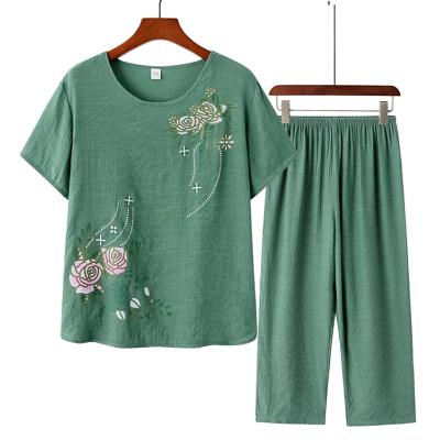 小樣傳奇 中老年人女裝T恤夏季仿棉麻媽媽裝兩件套裝婆婆60歲70奶奶上衣褲子