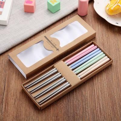 304不锈钢筷子家用小麦秸秆筷子8双装防霉防滑健康筷便捷礼品快子