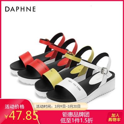 Daphne/達芙妮正品夏季時尚街頭松糕鞋舒適潮流簡約中性休閑涼鞋