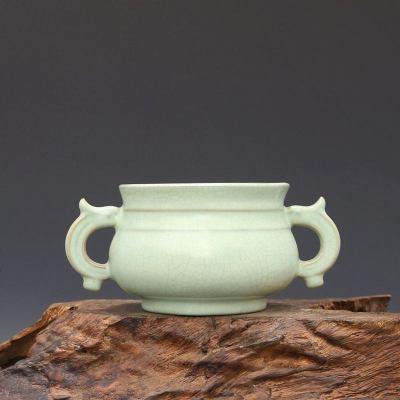宋 汝窑 果绿釉 宣和元年清凉寺御制 双耳炉 古董瓷器古玩古瓷器