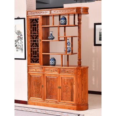 中式榆木玄關廳柜閃電客明清古典屏風隔斷玄關柜客廳實木雙面鞋柜酒柜