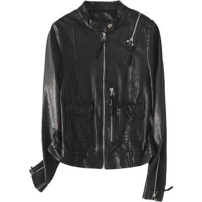 2020春時尚新款真皮皮衣女士黑色休閑短款綿羊皮修身外套
