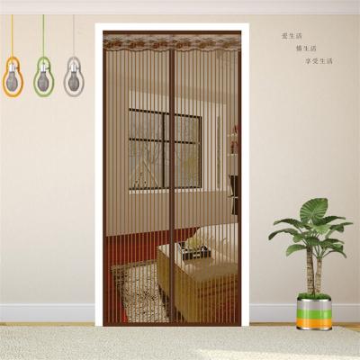 夏季防蚊門簾魔術貼磁性軟紗門隔斷簾臥室家用紗窗紗門加密靜音 咖啡條紋+2包粘扣 220x100cm