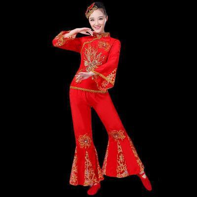 秧歌服演出服2018東北中老年廣場舞蹈表演服女成人扇子舞服裝